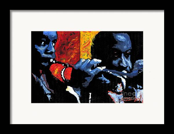 Jazz Framed Print featuring the painting Jazz Trumpeters by Yuriy Shevchuk