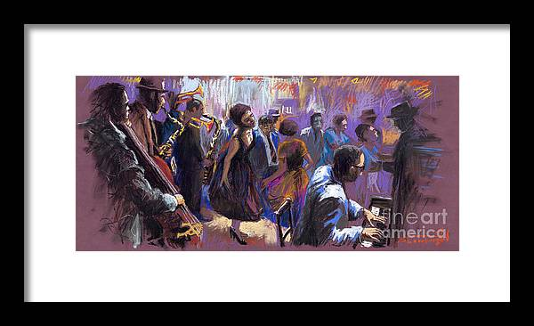 Jazz.pastel Framed Print featuring the painting Jazz by Yuriy Shevchuk