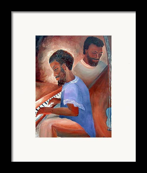 Portrait Framed Print featuring the painting Jazzmen by Alima Newton