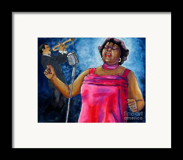 Jazz Framed Print featuring the painting Jazzy Lady by Linda Marcille