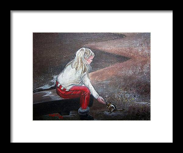 Squirrel Framed Print featuring the painting Jeannie Feeding Squirrel by Tammera Malicki-Wong