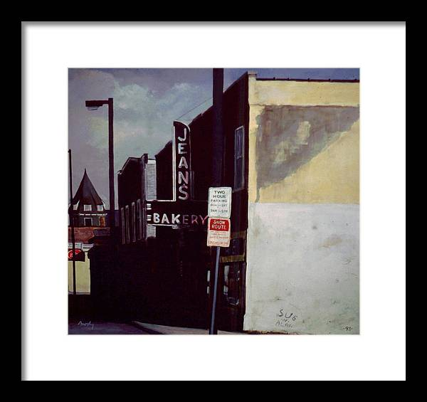 Landscape Framed Print featuring the painting Jean's Bakery by William Brody