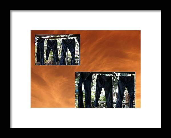 Abstract Framed Print featuring the photograph Jeans R Flying by Florene Welebny