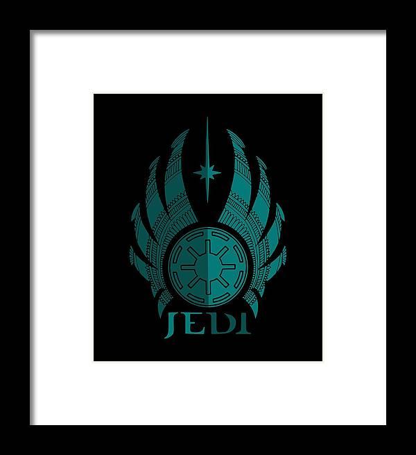 Jedi Symbol - Star Wars Art, Blue Framed Print