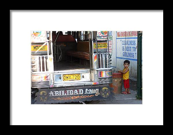 Photographer Framed Print featuring the photograph Jeepney Kid by Jez C Self