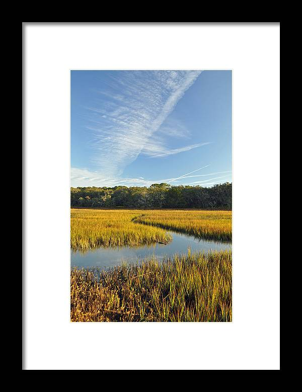 Jekyll Framed Print featuring the photograph Jekyll Island Marsh High Tide And Sky by Bruce Gourley