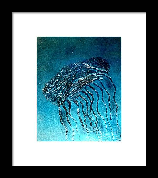 Ocean Framed Print featuring the painting Jelly Fish Detail by Rick Silas