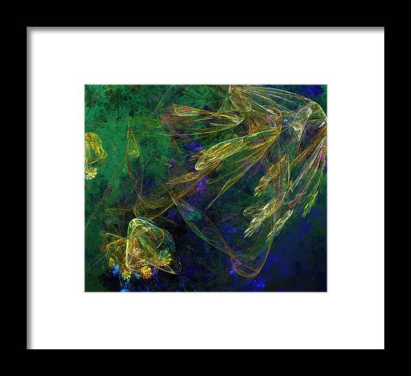 Fantasy Framed Print featuring the digital art Jelly Fish Diving The Reef Series 1 by David Lane