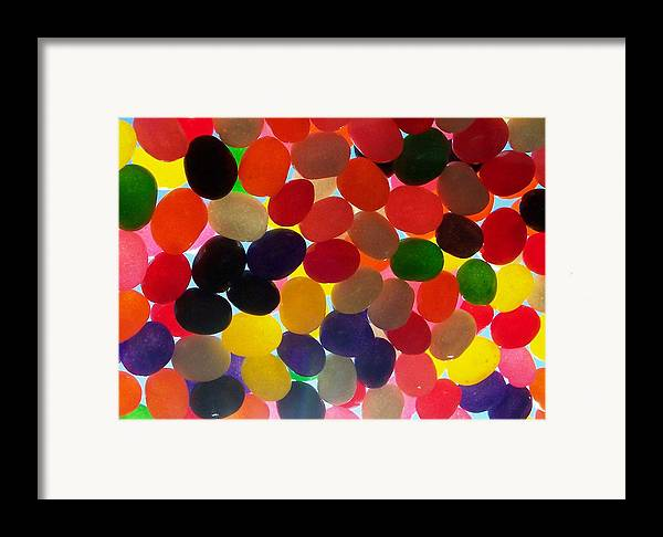 Candy Rainbow Treat Colorful Jellybean Framed Print featuring the photograph Jellybeans by Anna Villarreal Garbis