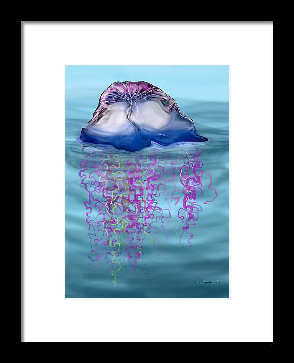 Jellyfish Framed Print featuring the greeting card Jellyfish by Kevin Middleton