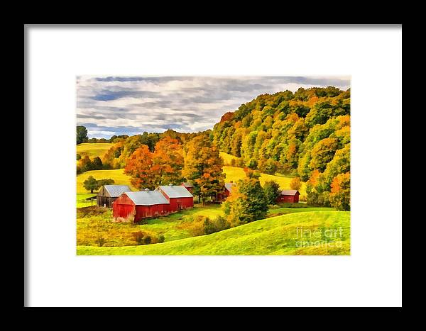 Vermont Framed Print featuring the painting Jenne Farm Vermont Painting by Edward Fielding