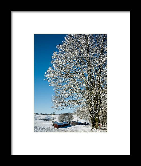 Christmas Framed Print featuring the photograph Jenne Farm Winter In Vermont by Edward Fielding