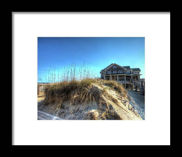 Currituck Beach Framed Print featuring the photograph Jennettes Pier Nags Head North Carolina by Greg Hager