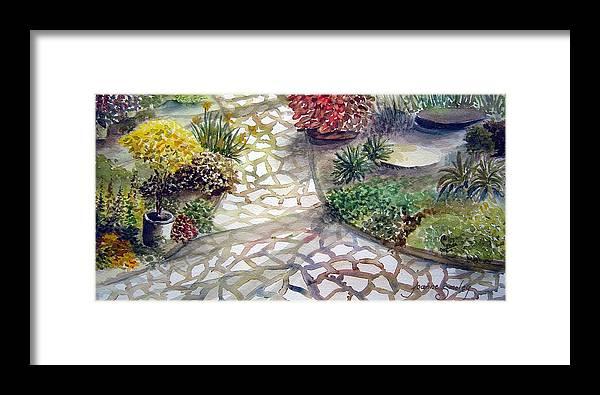 Garden Path Plants Framed Print featuring the painting Jennifers Garden by Joanne Smoley