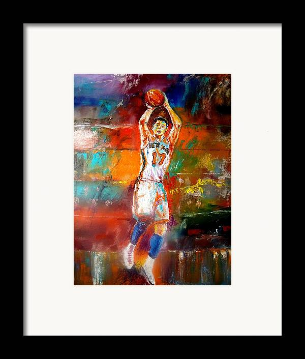 Jeremy Lin  Framed Print featuring the painting Jeremy Lin New York Knicks by Leland Castro