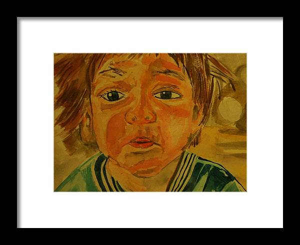 Boy Kid Jeremy Toddler Sweet Child Young Face Art Eyes Mouth Cheecks Nose Chin Framed Print featuring the painting Jeremy by Shellie Gustafson