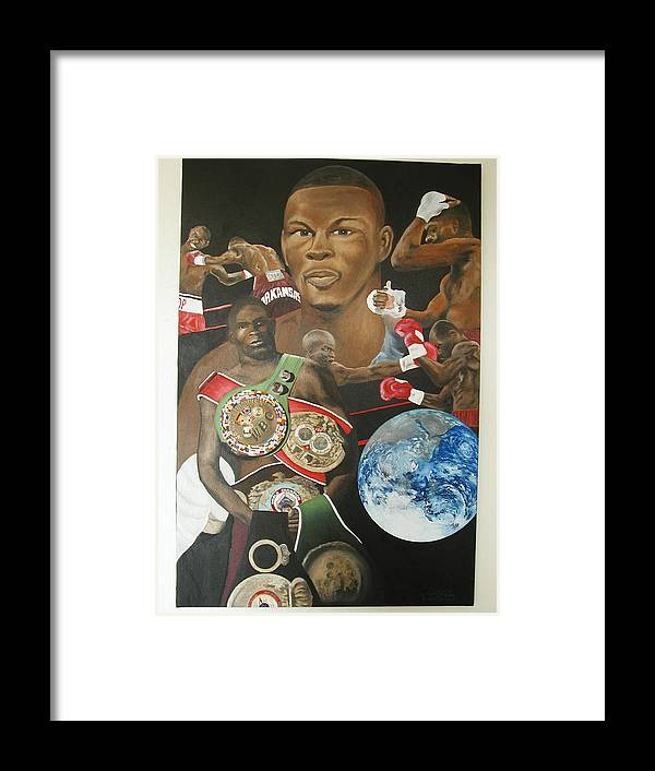 Portrait Framed Print featuring the painting Jermain Taylor Montage by Angelo Thomas