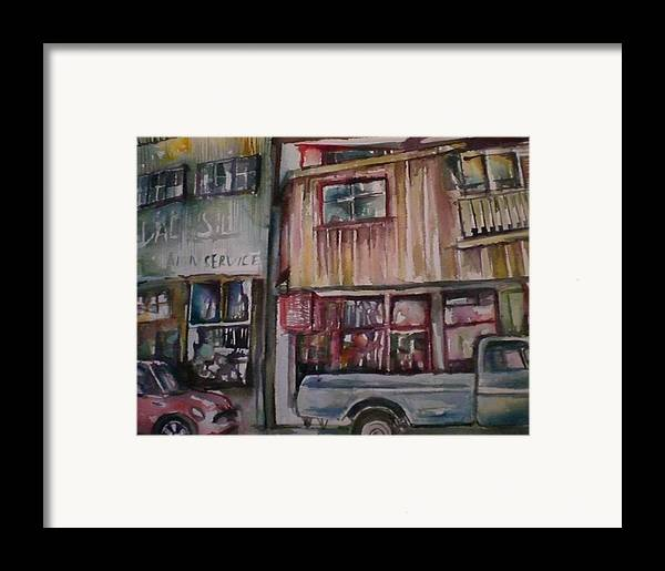 Buildings Framed Print featuring the painting Jerome by Aleksandra Buha