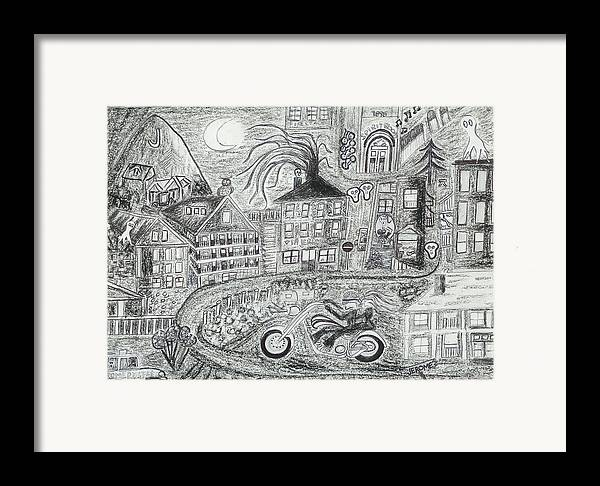 Jerome Panorama Framed Print featuring the drawing Jerome Moonlight Arizona by Ingrid Szabo
