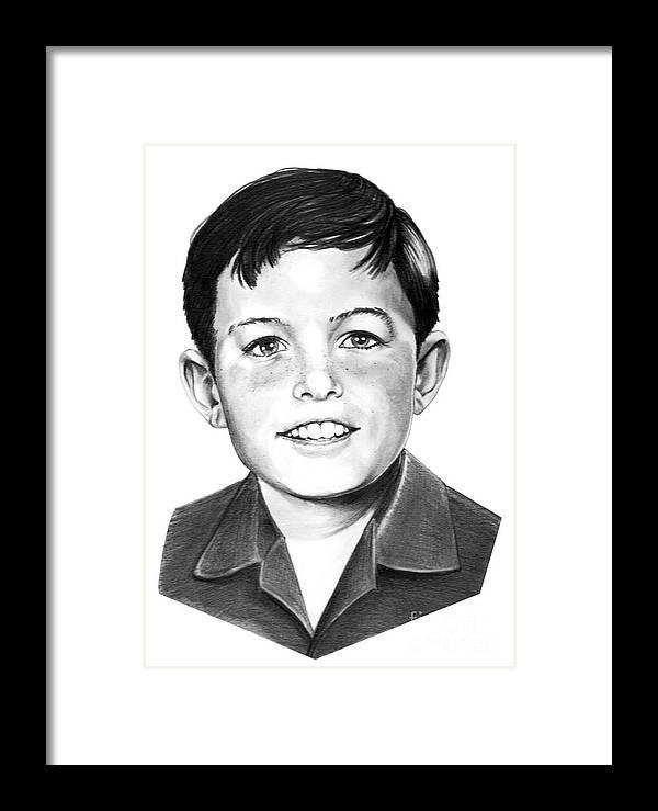 Portrait Framed Print featuring the drawing Jerry Mathers-as The Beaver-murphy Elliott by Murphy Elliott
