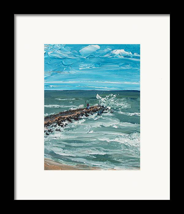 Seascape Framed Print featuring the painting Jersey Jetty by Pete Maier