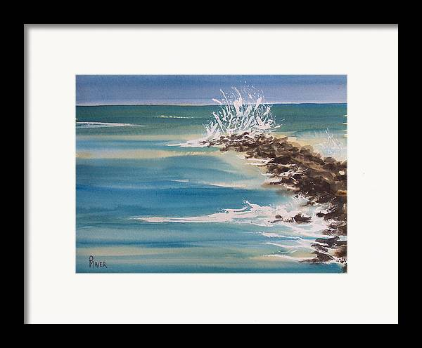 Ocean Framed Print featuring the painting Jersey Rocks by Pete Maier