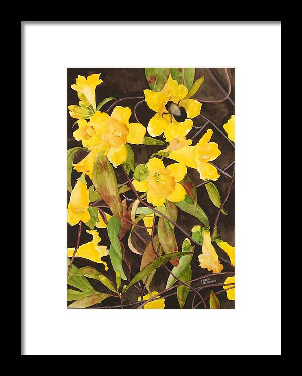 Flowers Framed Print featuring the painting Jessamine Jungle by Jean Blackmer