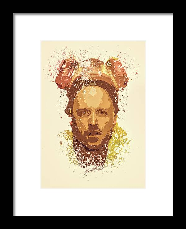 Jesse Pinkman, Breaking Bad Splatter Painting Framed Print by MP Art