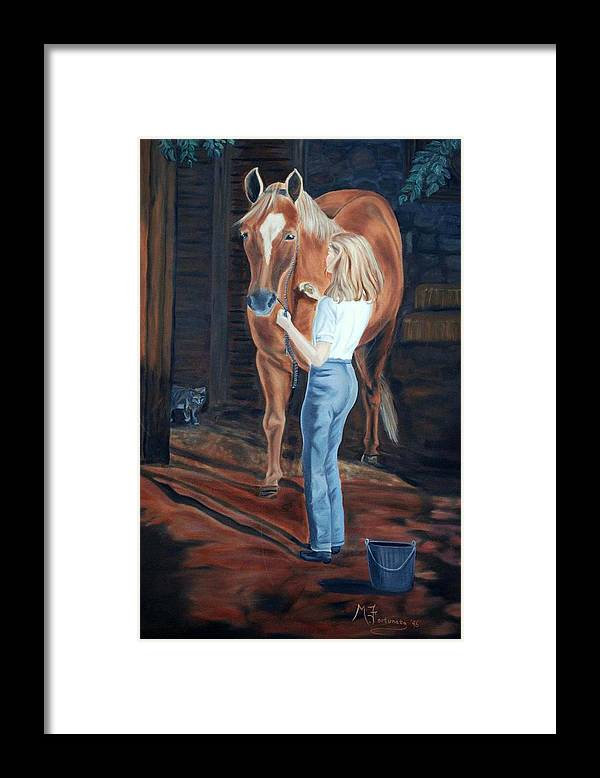 Horse Framed Print featuring the painting Jessica And Bunnie by Margaret Fortunato