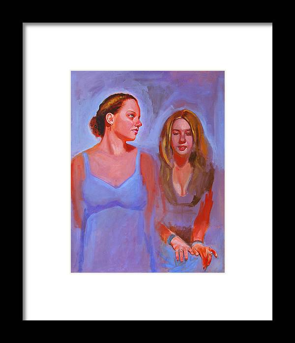 2 Girls Framed Print featuring the painting Jessica And Kate by John Tartaglione