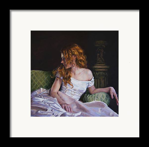 Young Framed Print featuring the painting Jessica Daydreaming by Jean Hildebrant
