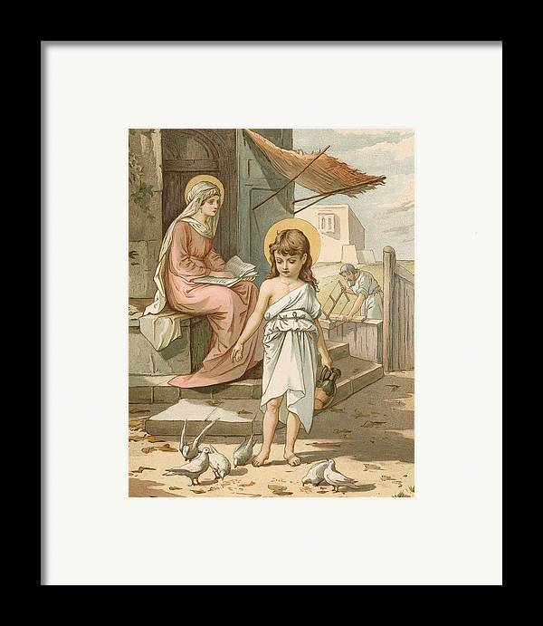 Bible; Jesus; Child; Boy; Playing; Doves; Birds; Joseph; Work; Carpenter; Carpentry; Virgin Mary; Reading; Yard; Feeding; Sentimental; Sentimentality Framed Print featuring the painting Jesus As A Boy Playing With Doves by John Lawson