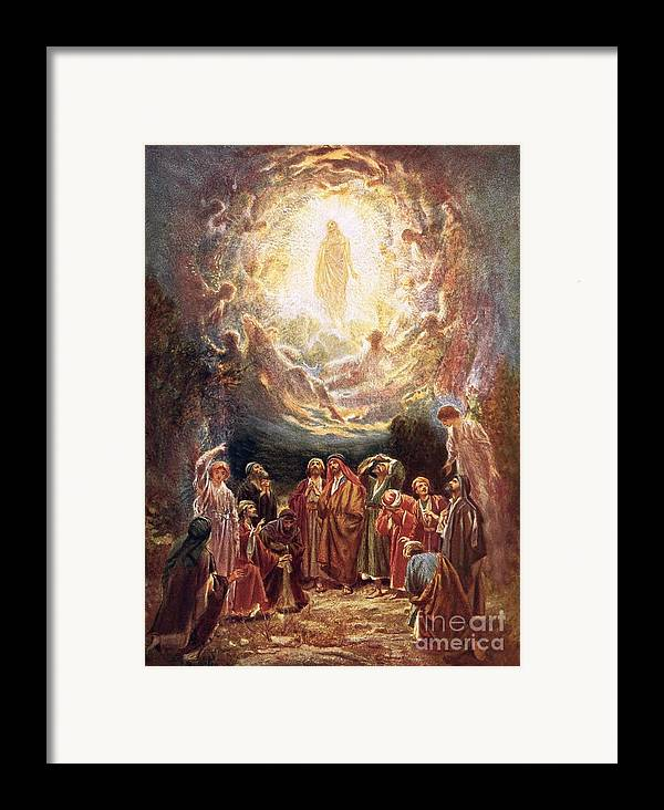 Jesus Ascending Into Heaven By William Brassey Hole (1846-1917) Bible; Jesus Christ; Ascension; Ascending Into Heaven; Jesus Framed Print featuring the painting Jesus Ascending Into Heaven by William Brassey Hole