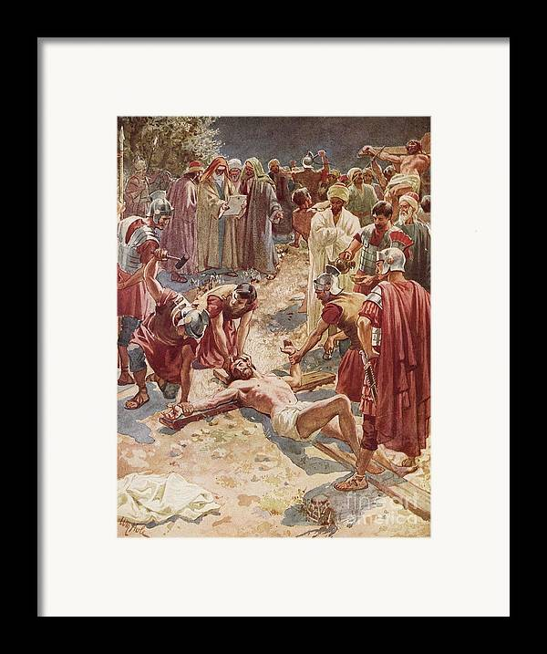 Jesus Being Crucified By William Brassey Hole (1846-1917) Jesus Framed Print featuring the painting Jesus Being Crucified by William Brassey Hole