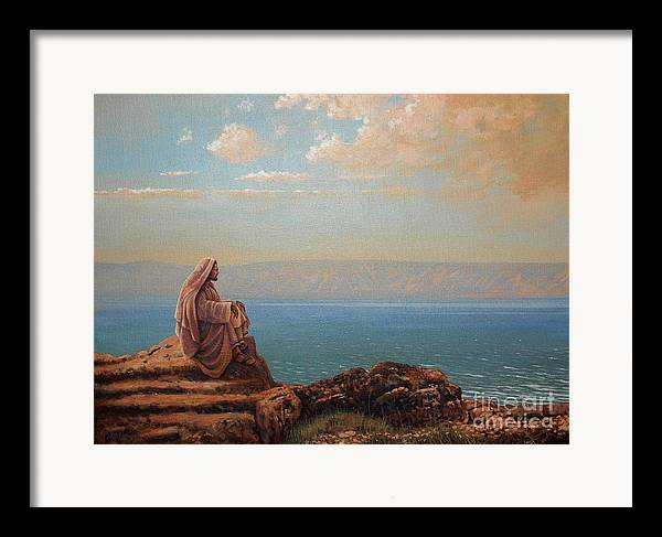 Jesus Framed Print featuring the painting Jesus By The Sea by Michael Nowak