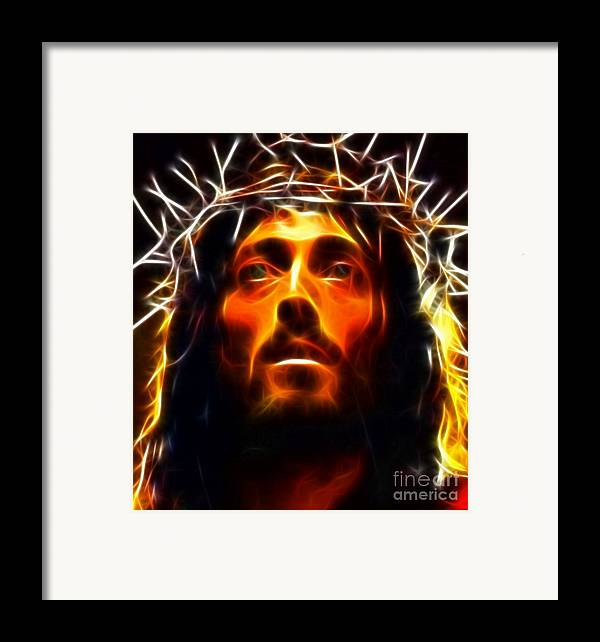 Jesus Framed Print featuring the mixed media Jesus Christ The Savior by Pamela Johnson
