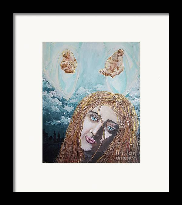 Jesus Framed Print featuring the painting Jesus Close To The Broken Hearted by Donna Gonzalez