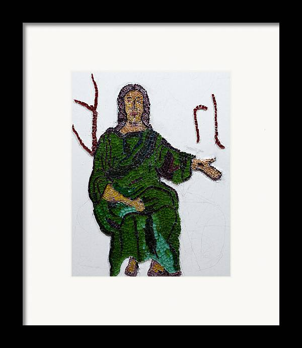 Stained Glass Mosaic Framed Print featuring the glass art Jesus by Emma Kinani