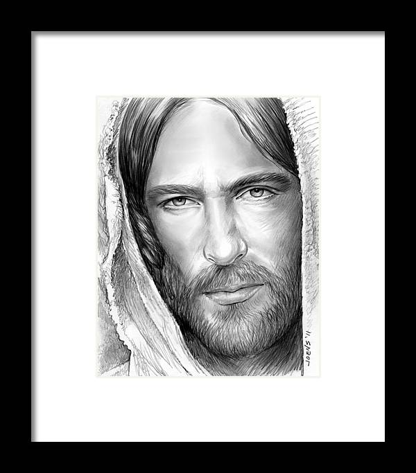 Jesus Framed Print featuring the drawing Jesus Face by Greg Joens