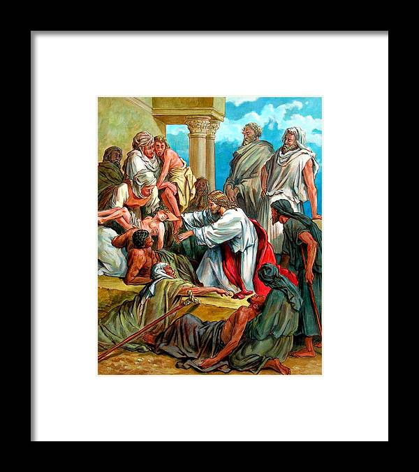 Biblical Scene Framed Print featuring the painting Jesus Healing the Sick by John Lautermilch