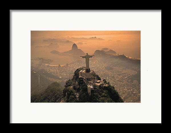 Jesus Framed Print featuring the photograph Jesus In Rio by Christian Heeb