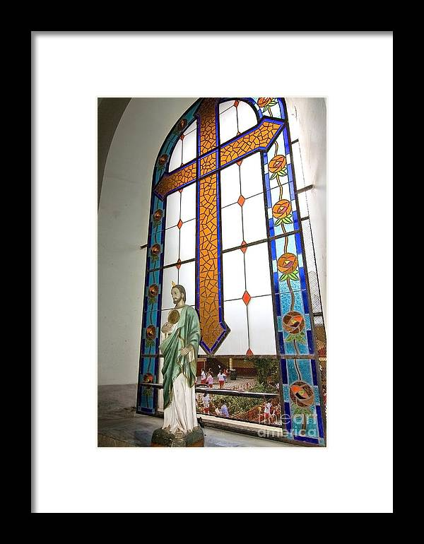 Jesus Framed Print featuring the photograph Jesus In The Church Window And School Girls In The Background by Sven Brogren