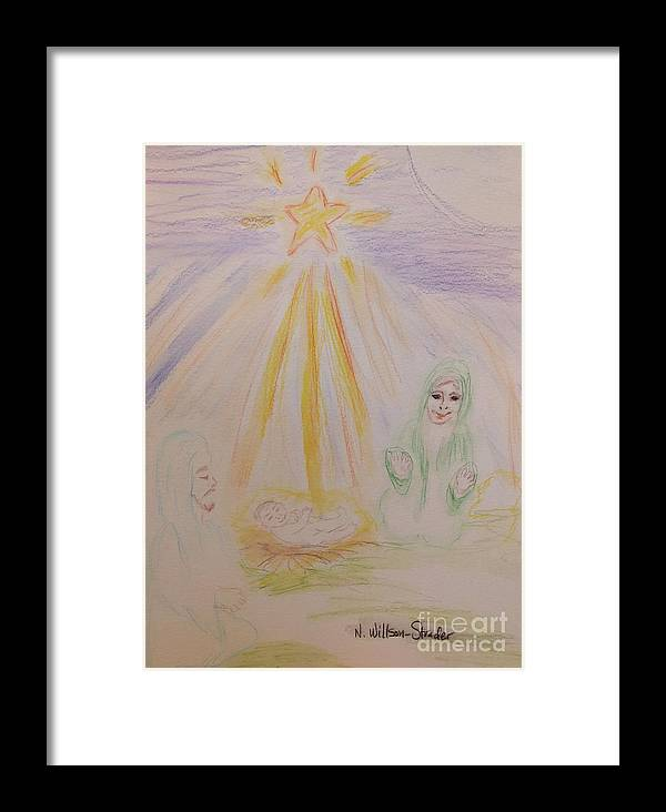 Nativity Framed Print featuring the drawing Jesus Is Born by N Willson-Strader