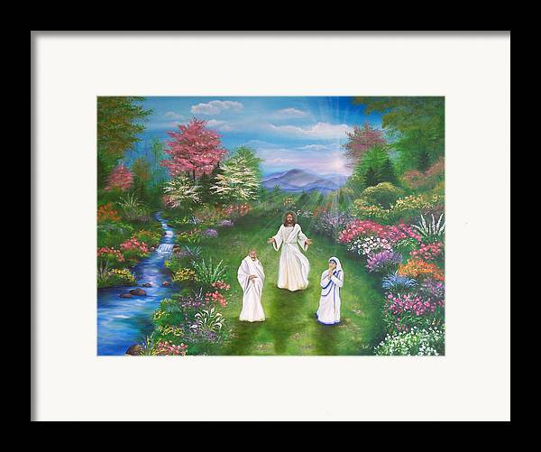 Landscape Framed Print featuring the painting Jesus Mother Theresa And Gandhi by Sundara Fawn