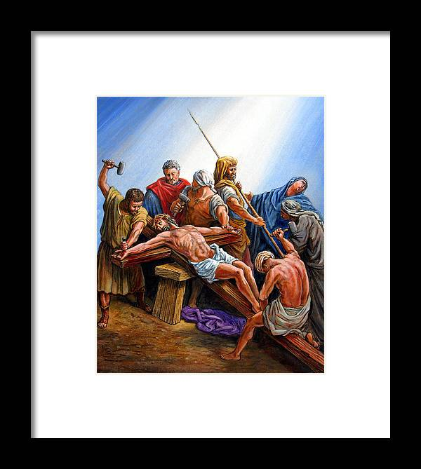 Jesus Framed Print featuring the painting Jesus Nailed To The Cross by John Lautermilch