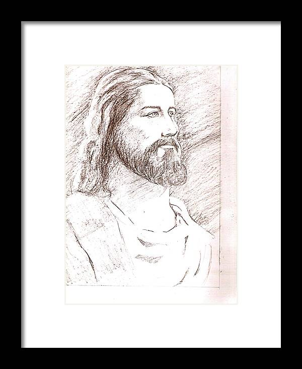 Jesus Framed Print featuring the drawing Jesus by Nevis Jayakumar