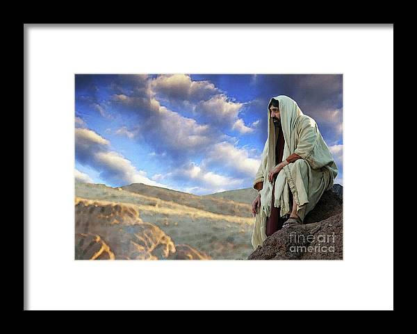 Jesus On A Hillside Framed Print By Todd L Thomas