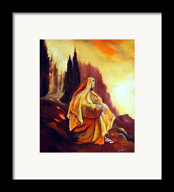 Figurative Framed Print featuring the painting Jesus On The Mountain by Julie Lamons