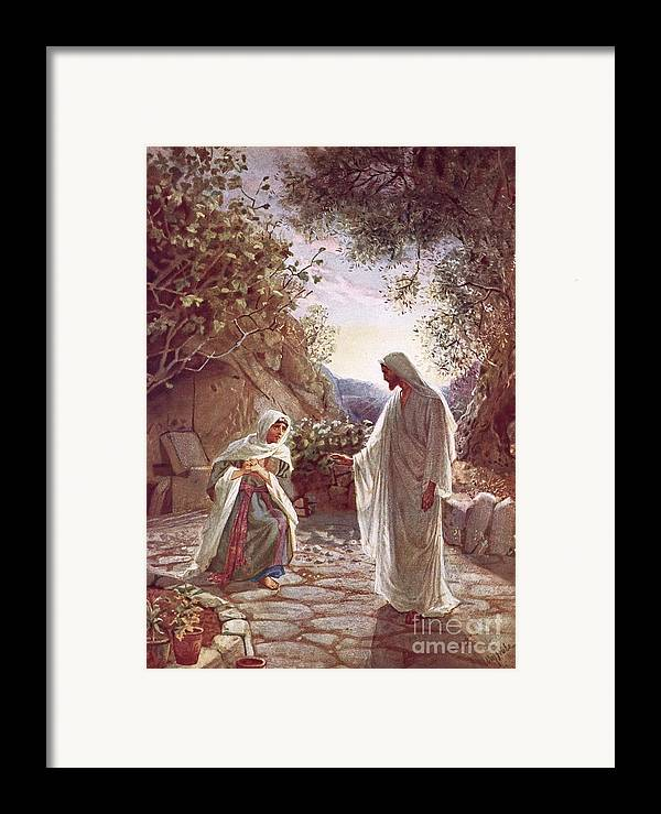 Bible; Jesus Christ; Revealing Himself; Resurrection; Mary Magdalene Framed Print featuring the painting Jesus Revealing Himself To Mary Magdalene by William Brassey Hole