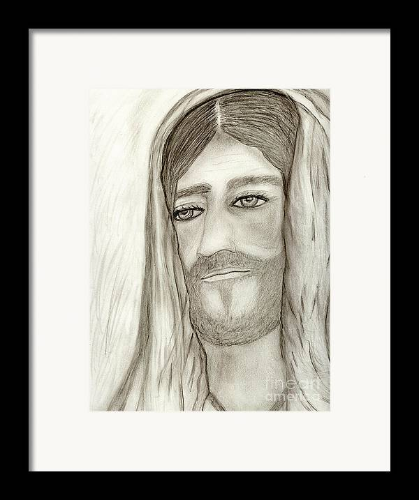 Jesus Framed Print featuring the drawing Jesus by Sonya Chalmers